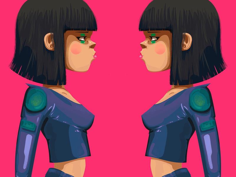 Neon Badass Girl illustrator character vectors pink neon love girl