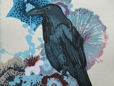 Blue Raven printmaking screenprint silkscreen print raven birds botanical illustration botanical nature illustration nature art nature design illustration