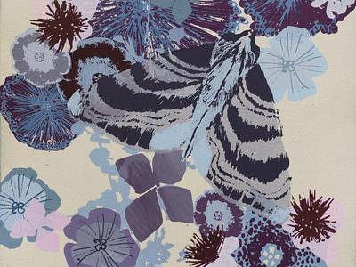 Hydrangea Moth blue design nature illustration silkscreen print screenprint printmaking nature nature art illustration botanical illustration botanical