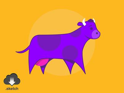 Violet Cow Illustration (.sketch)