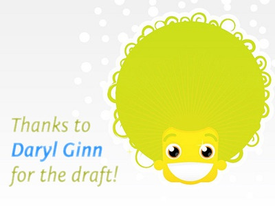 Thanks to Daryl Ginn for the draft vector illustration debute invite player thank you