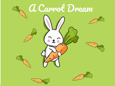 A Carrot Dream digital art cute illustration sticker cute animal illustration
