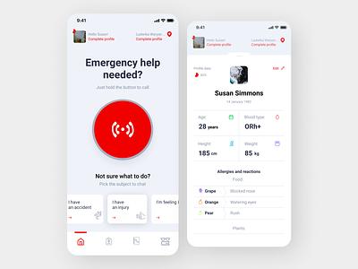 Emergency Help app app ui design