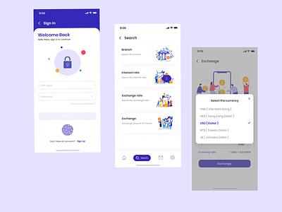 Online Banking App vector art illustration typography flat application ux app ui design