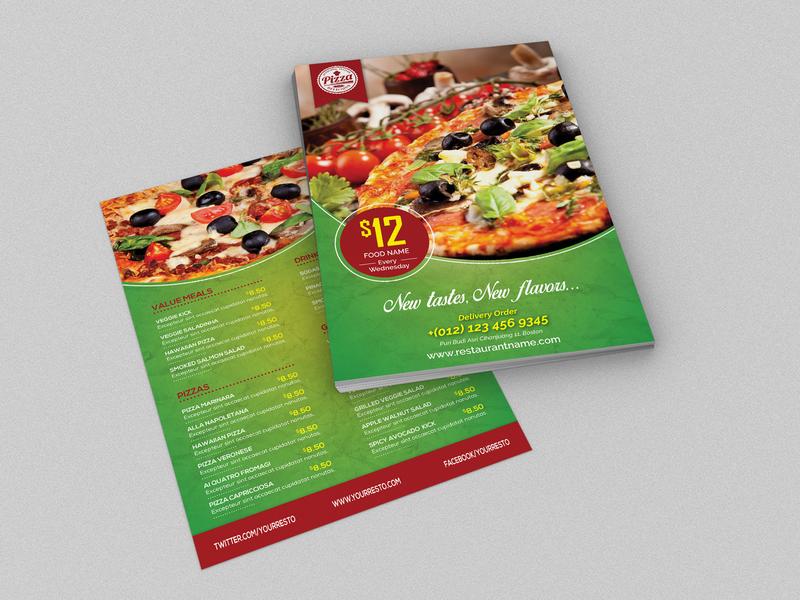 Pizza Restaurant Menu Flyer