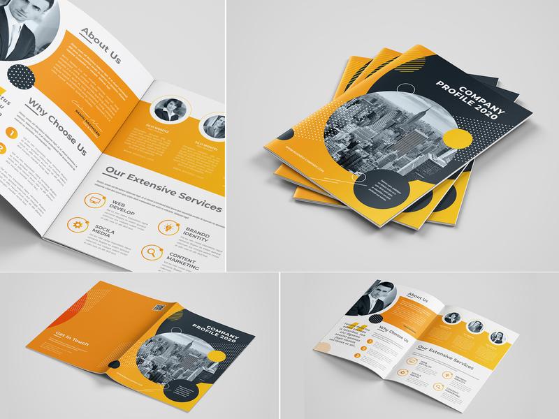 Bifold Company Profile 2020 letter information indesign indd free font flyer flexible elegant editorial editable easy design corporate clean business brochure template brochure bifold bi-fold a4