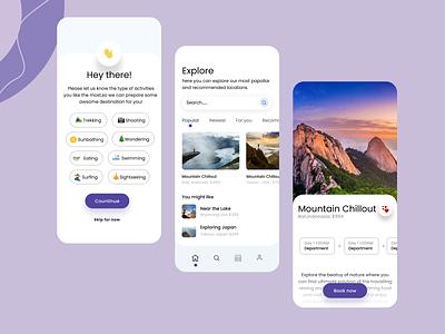 Travelling App app ux ui design