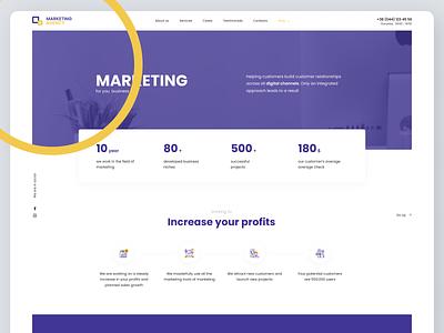 Marketing Web Design clean flat art typography website web app ux ui design