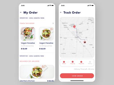 Food Ordering App flat clean app ui ux design