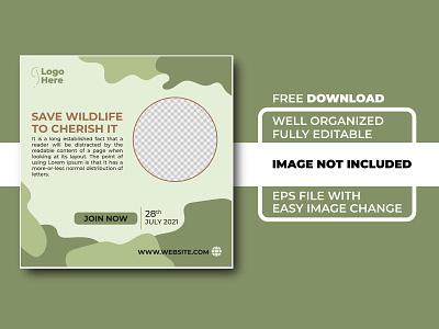 Save Wildlife To Cherish It Social Media Template save wild social media logo template