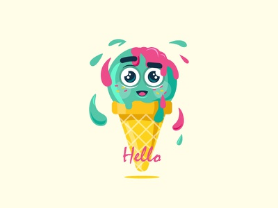 Ice cream mint yellow pink wafer hello happy face illustration summer ice cream