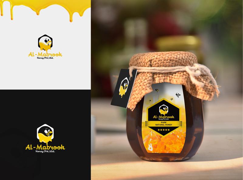Al-Mabrook Honey logo graphic elegant innovation creative design idea clean badge organic label farm branding bee logo identity insect animal honey bee group colony clean simple character cartoon