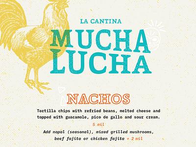 Mucha Lucha - La Cantina illustration branding restaurant branding design restaurant menu
