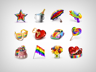 Rainbow Gifts icons icon dating gift flirty social photoshop rainbow set