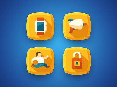 «Run 4 Gun» icons apple watch gun lock run illustration vector minimal flat icons