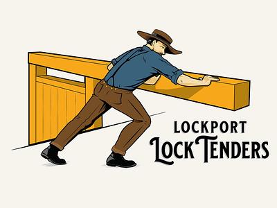 Lockport Locktender erie canal historical branding hand drawn illustration vector illustration
