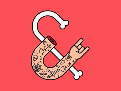Flesh & Bone graphic design skull identity agency metal metalhead bones tattoo outline illustrator drawing illustration
