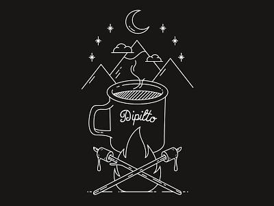 Dipilto - Coffee Illustration fire camp mountain marshmallow brand design graphic design brand identity vector outline black and white illustration coffee
