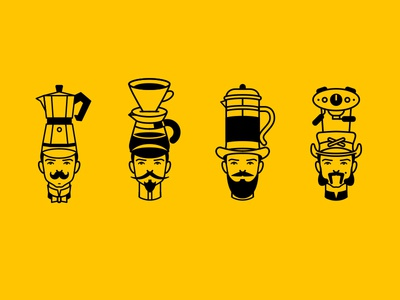 Coffee Guys hipster mustache beard character brand identity vector outline black and white illustration coffee