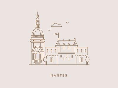 Nantes logo branding print outline city nantes editorial design graphic design design illustration