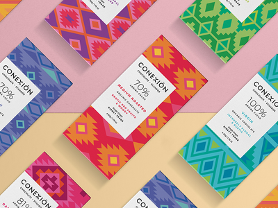 Conexión Chocolate art direction ecuador brand identity branding colorful pattern graphic design packaging design chocolate