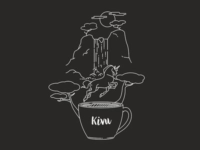 Kivu - Coffee Illustration waterfall blend unicorn coffee brand identity branding graphic design design illustration
