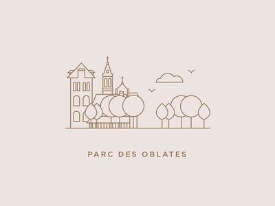 Parc des Oblates illustration design graphic design editorial design nantes city outline print branding logo