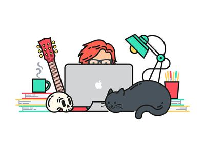 Workspace illustration self-portrait colorful freelancer graphic design skull cat workspace vector drawing illustration