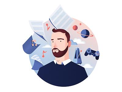 Portrait illustration gradiant flat pink blue art drawing sound designer space planet metronome video game freelance composer music brand identity home page portrait texture vector illustration