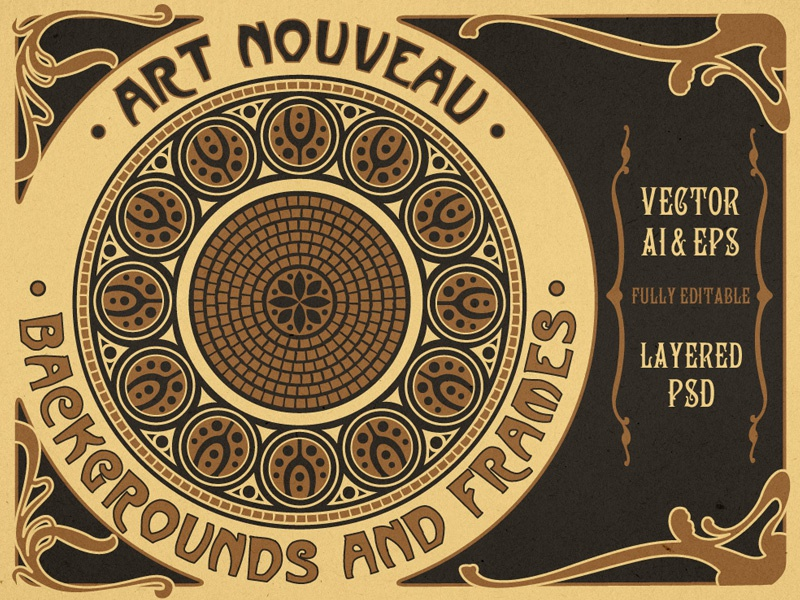Art Nouveau Backgrounds And Frames - Vector Assets for