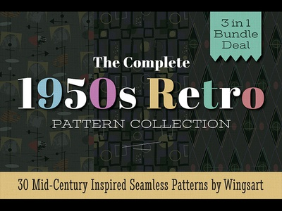 The Complete 1950s Retro Pattern Bundle by Wingsart