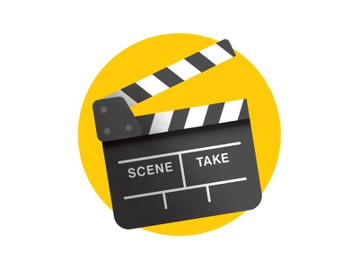 Clapperboard theater yellow clapper film movie