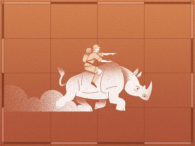 Explorer with Rhinoceros vector safari rhino