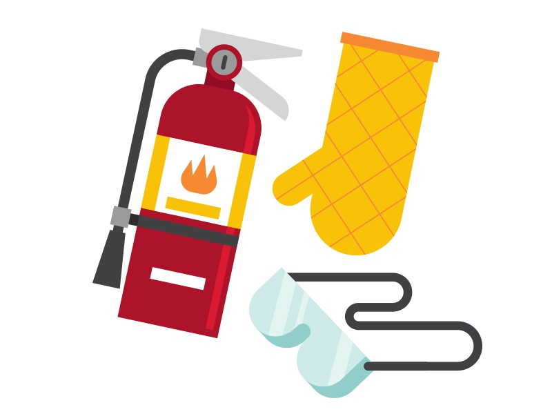 Safety Supplies for Deep-Frying a Turkey vector goggles fire extinguisher thanksgiving
