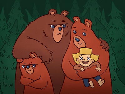 Raised by Bears mockinbird brush pen goldilocks family bear