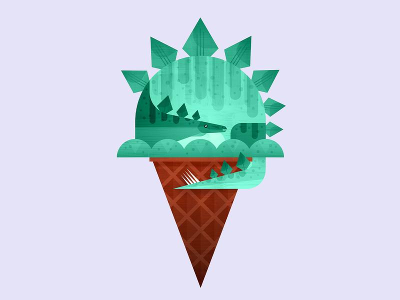 Dino Cone—Green mint pistachio stegosaurus dinosaur cone ice cream