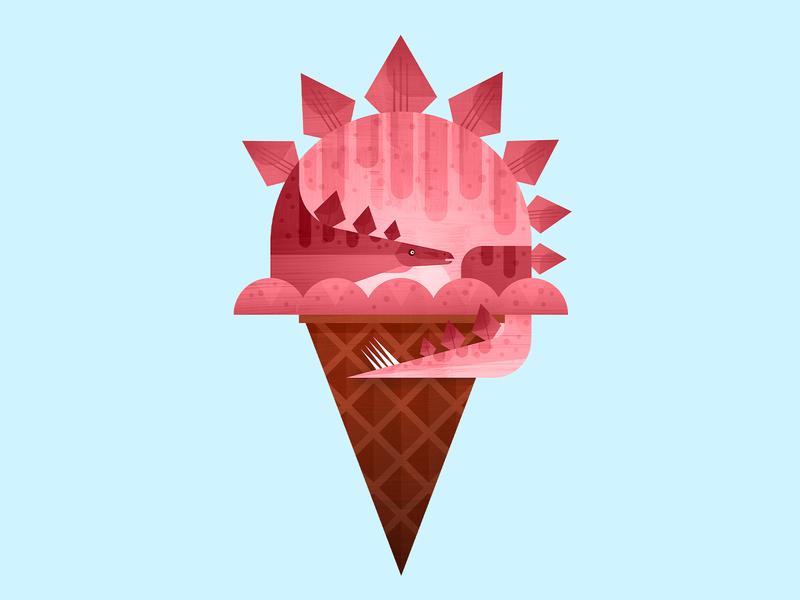 Dino Cone—Pink ice cream strawberry stegosaurus dinosaur cone