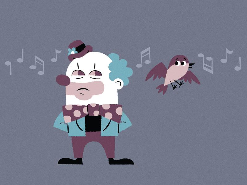 Clown and Mocking Bird mystery bow tie music bird clown