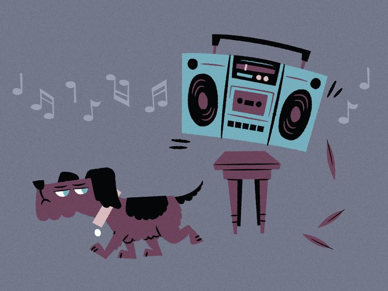 Dog and Radio mockinbird pet mystery music boombox radio animal dog