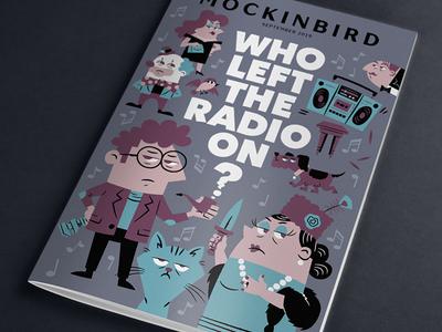MockinBird Cover: Who Left the Radio On? people clown professor cartoon magazine radio clue mystery