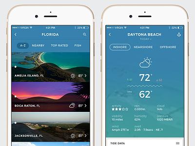 Pro Angler Locations fishing florida fish iphone app ui weather blue list boat sea