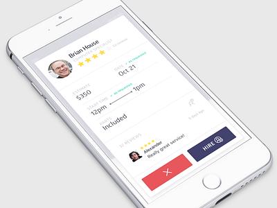 Raly Service Profile modal clean minimal ui iphone ios
