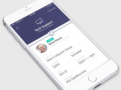 Hired! card profile ui shake hand iphone ios service