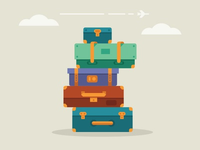 Suitcases illustration travel suitcase airplane clouds