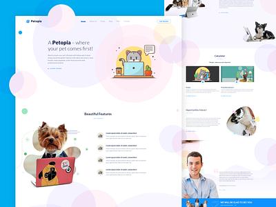 Pet Landing Page template minimal modern landing page design landingpage app design animation abstract design website webdesign web ui design web design ux uiux uidesign ui