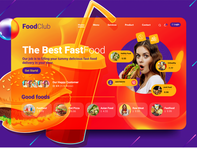 The Fastfood Landing page! character mobile modern minimal creative color concept clean app design abstract design website webdesign web ui design web design ux uiux uidesign ui