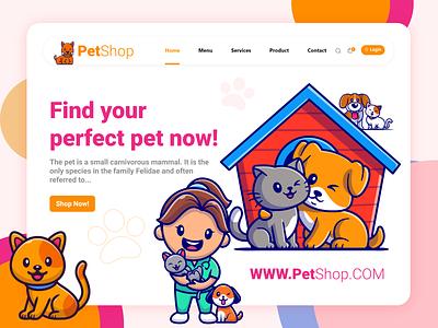 Pet Landing Page drawing dribbble digital minimal modern character creative color concept clean website design webdesign web ui design web design ux uiux uidesign ui