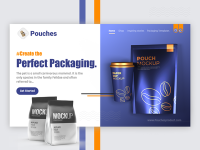 Pouches Packaging Landing Page clean modern minimal packaging prototype product productdesign packaging design package design website design webdesign web ui design web design ux uiux uidesign ui