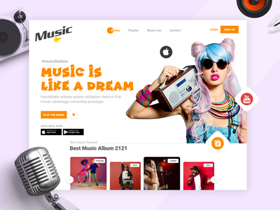 Music Landing Page clean character creative concept music player music app modern minimal musician music website design webdesign web ui design web design ux uiux uidesign ui