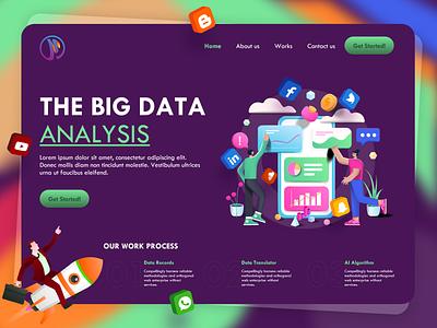 Data Analysis Landing Page minimal abstract digital dribbble data analytics data analysis data visualization database data concept website design webdesign web ui design web design ux uiux uidesign ui